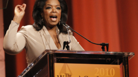 """Oprah Winfrey speaks after accepting the Minerva award at """"The Women's Conference 2010"""" in Long Beach"""