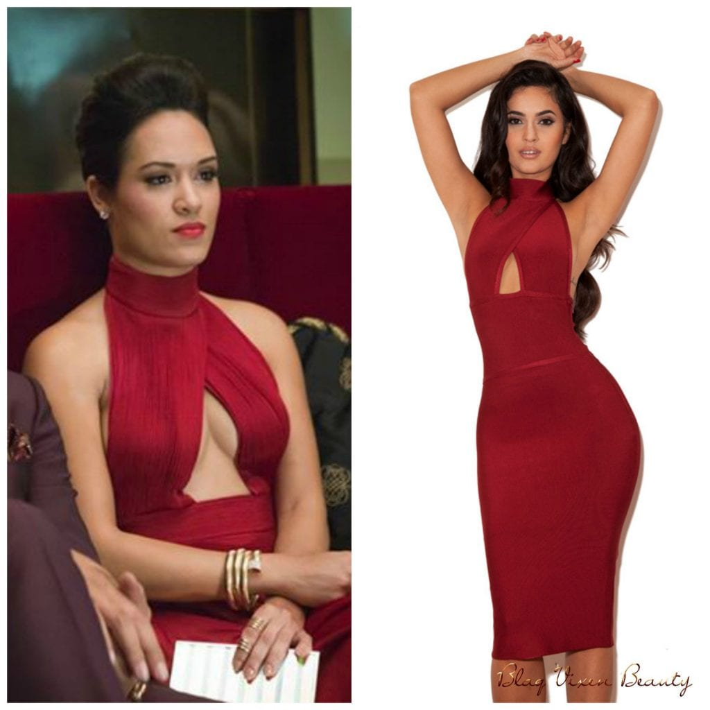get-anika-from-empires-givenchy-gown-with-house-of-cb-syrah-ruby-halterneck-cut-out-bandage-dress