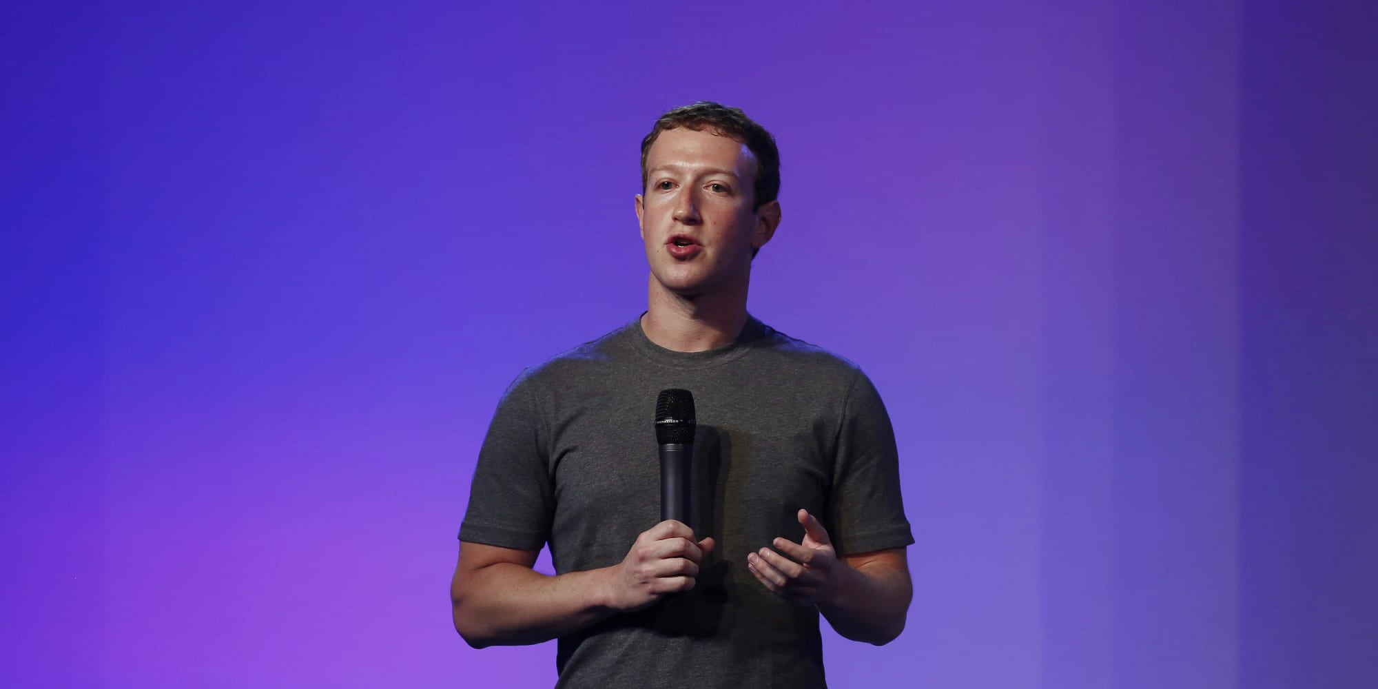 Mark Zuckerberg, founder and CEO of Facebook, addresses a gathering during the Internet.org Summit in New Delhi
