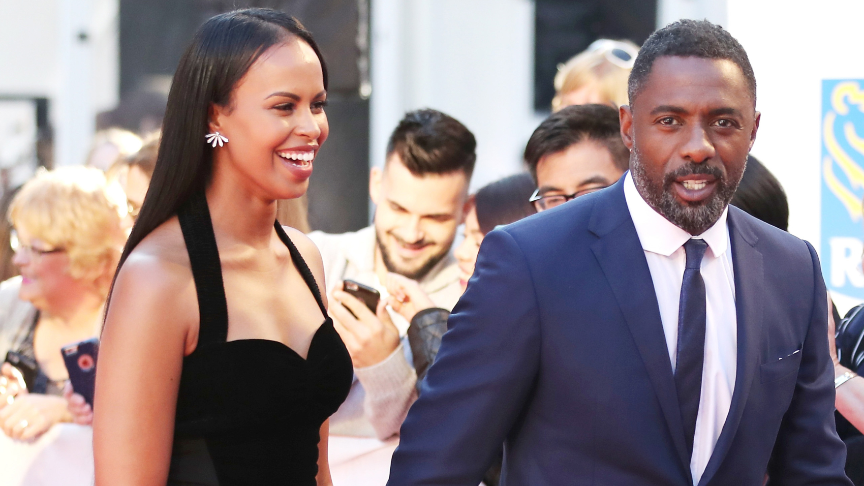 """TORONTO, ON - SEPTEMBER 10:  Actor Idris Elba (R) and guest attend the premiere of """"The Mountain Between Us"""" during the 2017 Toronto International Film Festival at Roy Thomson Hall on September 10, 2017 in Toronto, Canada.  (Photo by J. Countess/WireImage)"""
