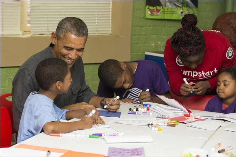Barack Obama helping children with their homework