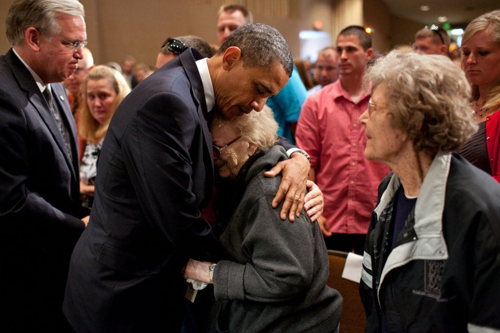 President Barack Obama hugs a woman who lost a loved one, at the memorial service in Joplin, Missouri, May 29, 2011.<br /> (Official White House Photo by Pete Souza)