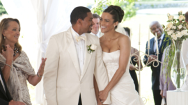"In this film publicity image released by Sony Pictures, Laz Alonso, center left, and Paula Patton are shown in a scene from ""Jumping the Broom.""  (AP Photo/Sony-TriStar Pictures, Jonathan Wenk)"